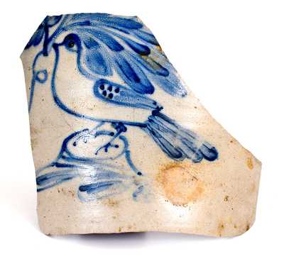 Exceptional Large-Sized Stoneware Sherd w/ Cobalt Bird Decoration, attrib. Cowden & Wilcox, Harrisburg, PA