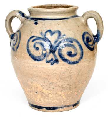 Exceptional Vertical-Handled Stoneware Jar w/ Watchspring Design, Manhattan or Cheesequake, NJ, c1775