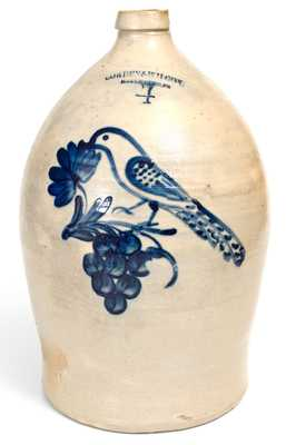 Exceptional COWDEN & WILCOX / HARRISBURG, PA Stoneware Jug w/ Cobalt Bird and Grapes Motif