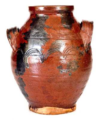 Very Rare Open-Handled Redware Jar with Incised Sine Wave Decoration, possibly Southwestern Virginia