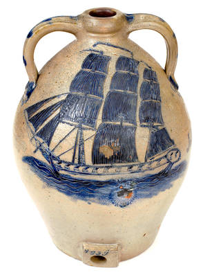 Important Presentation Cooler w/ Elaborate Incised Ship Design, attrib. Abial Price, South Amboy, NJ, Dated 1839