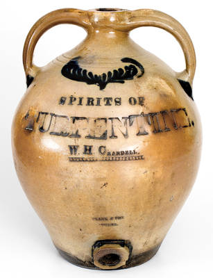 Outstanding Clark & Fox (Athens, NY) SPIRITS OF TURPENTINE Cooler for E.S. Fox's Brother-in-Law