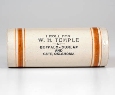 Rare Stoneware Rolling Pin with Oklahoma Advertising