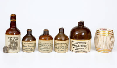 Six Stoneware Miniatures with Pittsburgh, PA Advertising