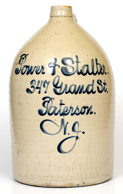 Four-Gallon Paterson, NJ Stoneware Advertising Jug, attrib. Fulper Pottery, Flemington