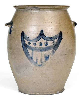 Extremely Rare Stoneware Jar w/ Cobalt Federal Shield Decoration, probably Kentucky, c1825-40