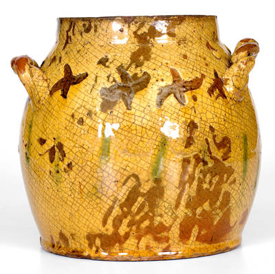 Outstanding Rope-Handled Redware Jar w/ Sgraffito Decoration att. Vickers Pottery, Chester County, PA