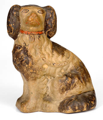 Cold-Painted Stoneware Figure of a Spaniel, American, circa 1875
