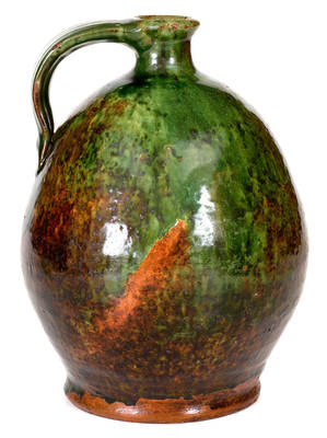 Exceptional Green-Glazed New England Redware Jug (Maine origin)