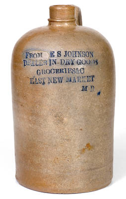 Very Rare EAST NEW MARKET, MD (Eastern Shore) Stoneware Advertising Jug, made in Baltimore