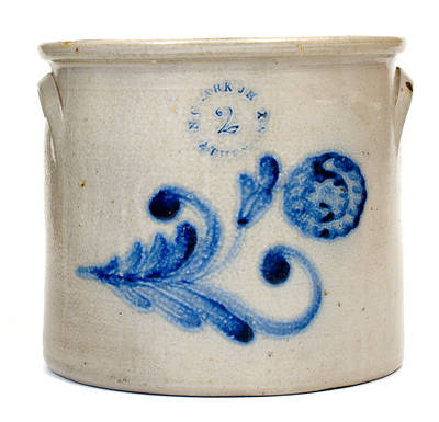 N. CLARK JR. / ATHENS, NY Stoneware Crock with Floral Decoration