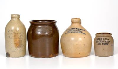 Lot of Four: Pieces of Advertising Stoneware