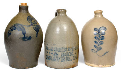 Lot of Three: Beaver, PA Stoneware Jugs incl. S. JOHNSTON & SON Example
