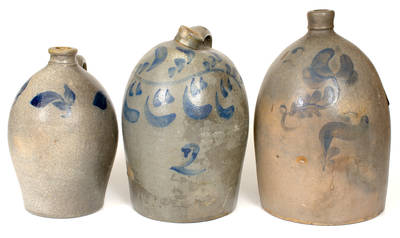 Lot of Three: Beaver, PA Stoneware Jugs with Cobalt Decoration
