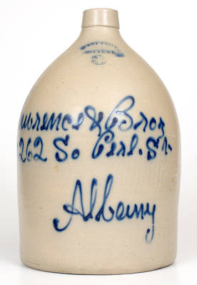 WEST TROY POTTERY Stoneware Jug w/ Script Albany, NY Advertising