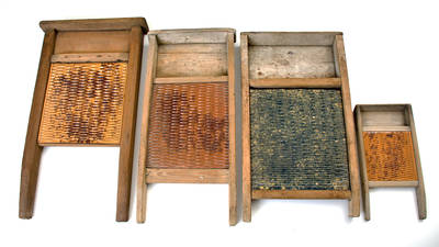 Lot of Four: Pottery Washboards