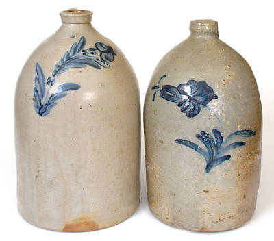 Lot of Two: 2 Gal. Stoneware Jugs with Floral Decoration