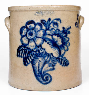 Outstanding JOHN BURGER / ROCHESTER, NY Stoneware Crock w/ Slip-Trailed Cornucopia Decoration