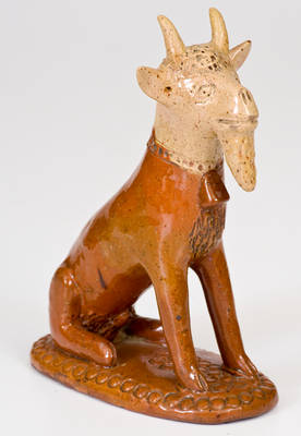 Exceptional Large-Sized Pennsylvania Redware Hand-Modeled Goat Figure