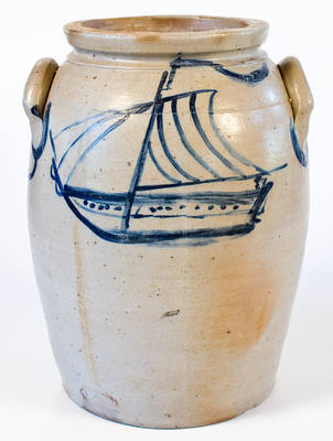 Exceedingly Rare and Important Four-Gallon Stoneware Jar with Cobalt Sailing Ship and Flag Motifs, Baltimore, MD origin, circa 1840