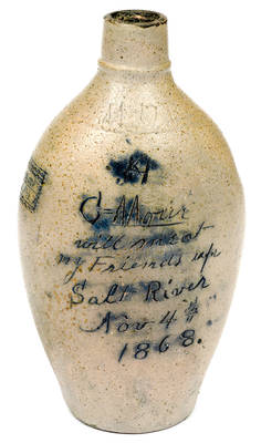 Ohio Stoneware Flask in Support of Ulysses S. Grant for President, 1868