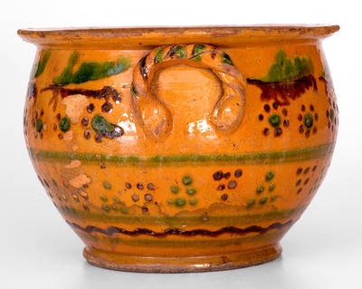 Exceptional Large-Sized Redware Sugar Bowl w/ Profuse Slip Decoration, probably Berks County, PA