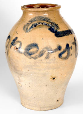 Exceedingly Rare Paul Cushman (Albany, NY, c1812) Stoneware Jar Inscribed