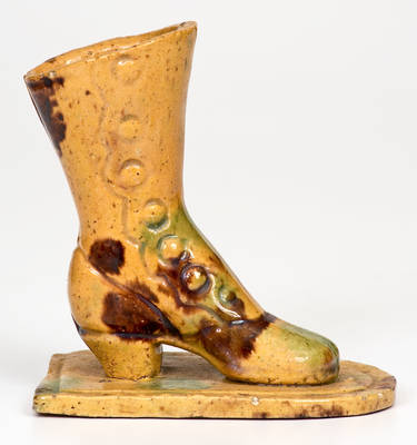 Glazed attrib. George Wagner Redware Boot Novelty (Weissport, Carbon County, PA)