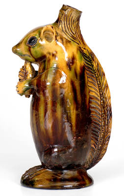 Exceptional Moravian Redware Squirrel Bottle