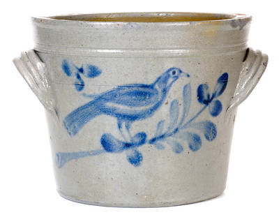 Extremely Rare attrib. J. H. Miller / Brandenburg, KY Stoneware Pan w/ Large Bird Decoration
