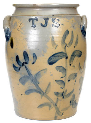 Very Rare T. J. S. (Thomas J. Suttle, Perryopolis, PA) Stoneware Jar with Bold Floral Decoration