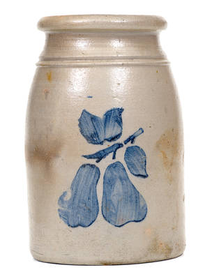 Fine Greensboro, PA Stoneware Canning Jar with Stenciled Pears Decoration