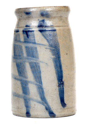 Unusual Western PA Stoneware Canning Jar with Crosshatched Design and Metal Lid