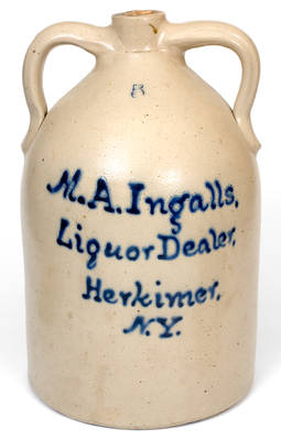 5 Gal. Double-Handled Stoneware Jug w/ Bold Herkimer, NY Advertising