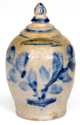Very Rare Baltimore Stoneware Bank with Floral Decoration, c1840