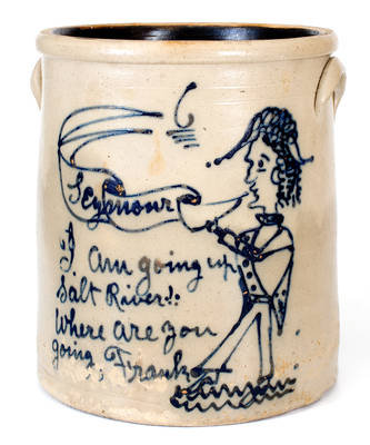 Ohio Figural-Decorated Stoneware Crock Referencing Horatio Seymour's 1868 loss to Ulysses S. Grant: