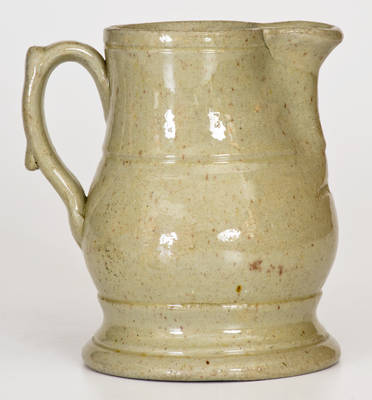 Extremely Rare Small-Sized John Bell Stoneware Pitcher w/ Celadon Glaze, Incised