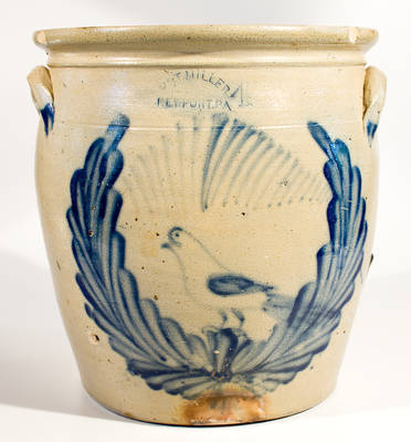 M. & T. MILLER / NEWPORT, PA Stoneware Jar with Large Cobalt Bird-in-Wreath Decoration