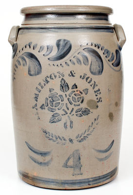 4 Gal. HAMILTON & JONES, Greensboro, PA Stoneware Jar w/ Bold Stenciled Rose Decoration