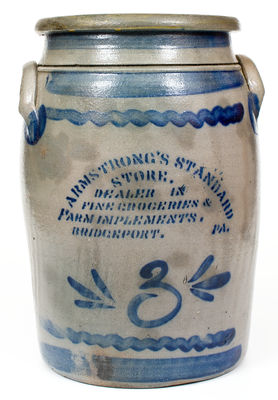 3 Gal. Western PA Stoneware Jar with Bold Stenciled BRIDGEPORT, PA Advertising