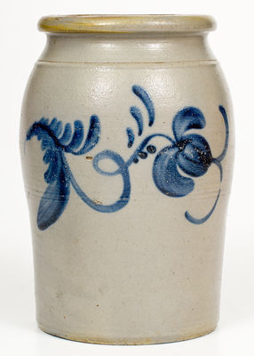 Fine Western PA Stoneware Jar w/ Two-Sided Freehand Decoration