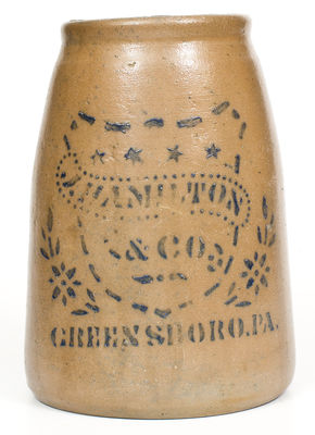 J. HAMILTON & CO. / GREENSBORO, PA Stoneware Canning Jar w/ Shield and Stars Decoration