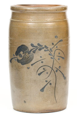 1 Gal. West Virginia Stoneware Jar with Slip-Trailed Floral Decoration