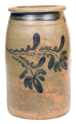 2 Gal. Western PA Stoneware Jar with Freehand Floral Decoration