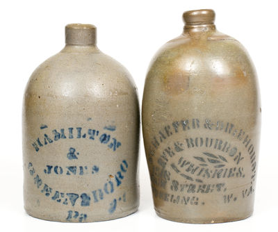 Lot of Two: Small Western PA Stoneware Jugs, HAMILTON & JONES and WHEELING, WV Advertising