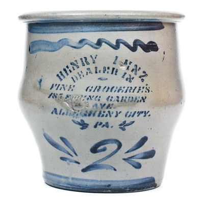 2 Gal. HENRY LENZ / ALLEGHENY CITY, PA (Pittsburgh) Stenciled Groceries Advertising Jar
