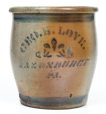 Rare SAXONBURGH, PA Stenciled Stoneware Advertising Jar