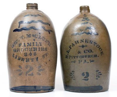 Lot of Two: Western PA 2 Gal. Stoneware Jugs w/ Stenciled PITTSBURGH Advertising