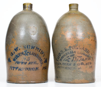 Lot of Two: Western PA Stoneware Jugs w/ Stenciled PITTSBURGH Liquor Advertising