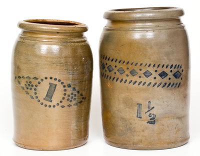 Lot of Two: Stenciled Stoneware Jars att. A. P. Donaghho, Parkersburg, WV